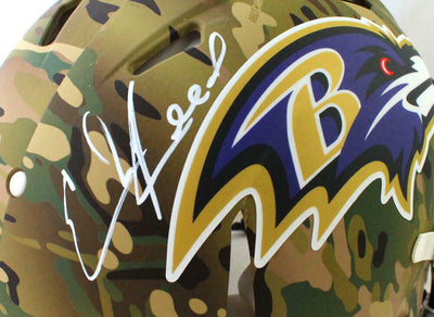 Ed Reed Baltimore Ravens Signed F/S Camo Speed Authentic Helmet (BAS COA)