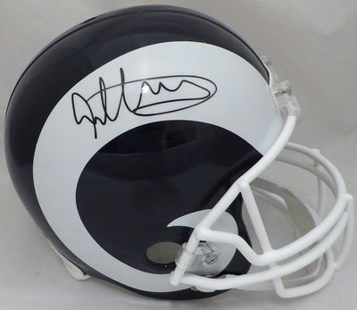 Todd Gurley Los Angeles Rams Signed Rams White and Blue Full-sized Helmet BAS COA (St. Louis)