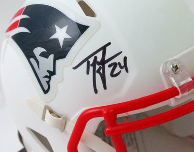 Ty Law New England Patriots Signed New England Patriots Flat White Mini Helmet (BAS COA)
