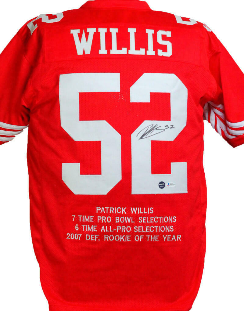 Patrick Willis Autographed Red Pro Style STAT Jersey *2 (BAS COA)
