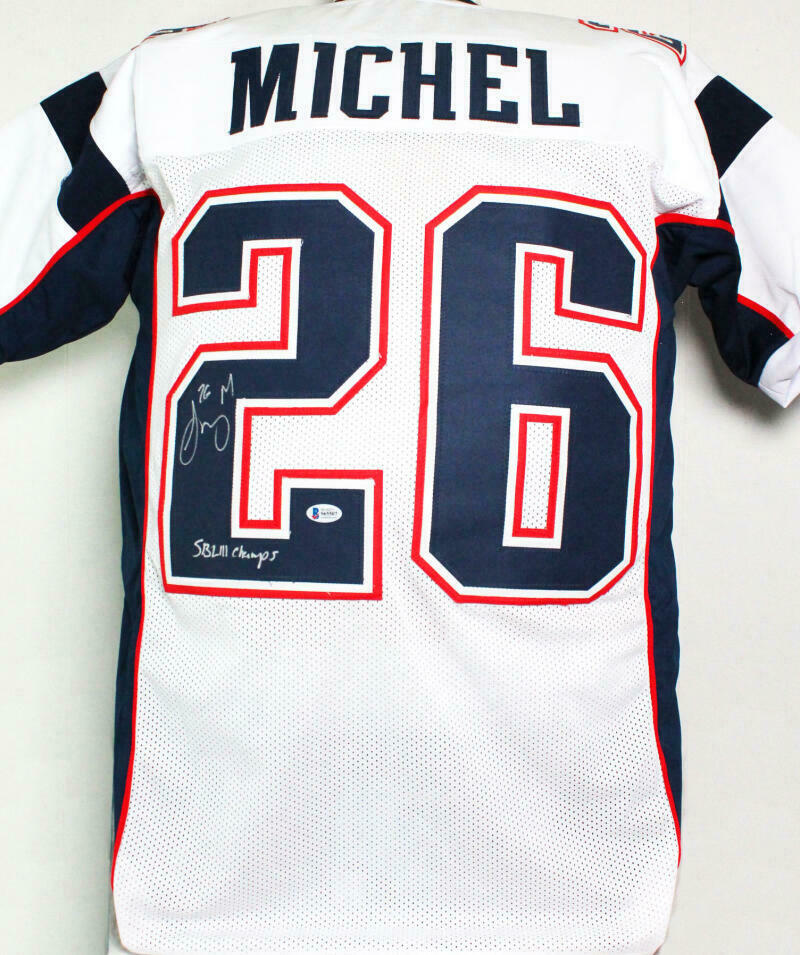 Sony Michel New England Patriots Signed White Pro Style Jersey with SB Champs (BAS COA)