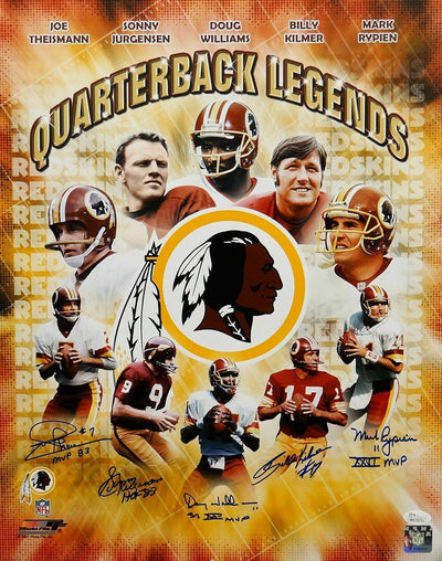 Theismann, Jurgensen, Williams, Kilmer, Rypien Washington Redskins Signed Redskins Quarterback Legends 16x20 PF Photo *Kilmer N/O (JSA COA)