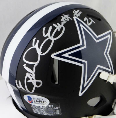 Ezekiel Elliott Dallas Cowboys Signed Flat Black Mini Helmet (BAS COA)