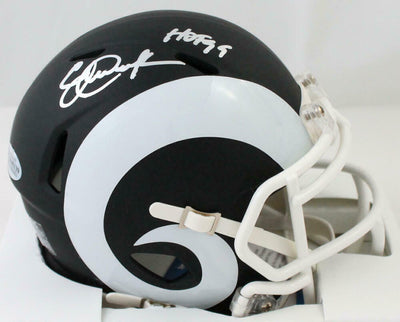 Eric Dickerson Los Angeles Rams Signed LA Rams Flat Black Mini Helmet with HOF BAS COA (St. Louis)