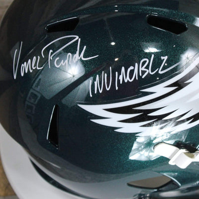 Vince Papale Autographed Philadelphia Eagles Green Riddell Speed Replica Full Size Helmet w/ Inscription Beckett COA