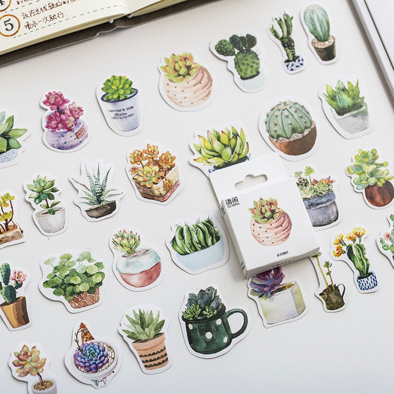 Succulent Plants Stickers Set of 50 / Decorative Scrapbooking Stickers / DIY Diary Album Labels / Cute Tiny Stickers