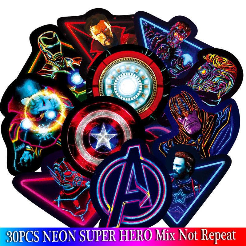 30 Neon Super Hero Stickers Set / Luggage Skateboard Motorcycle Bicycle Fridge Laptop Stickers / Custom Neon Stickers