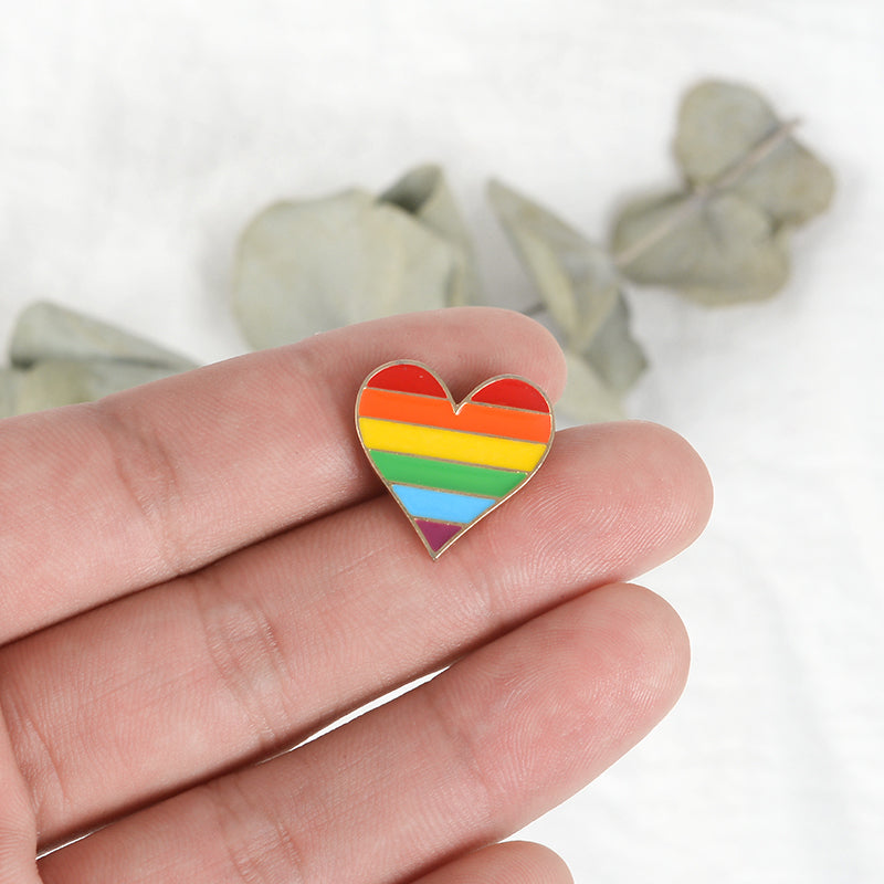 Rainbow Heart Enamel Pins