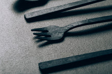 Hand Forged Custom Cutlery Set Kitchen Dining fork spoon tea Baguette black silverware utensils melbourne australia collingwood 13knives