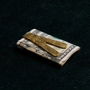 hand forged luxury money clip of solid polished gold brass hand made in collingwood melbourne australia by 13k 13 knives