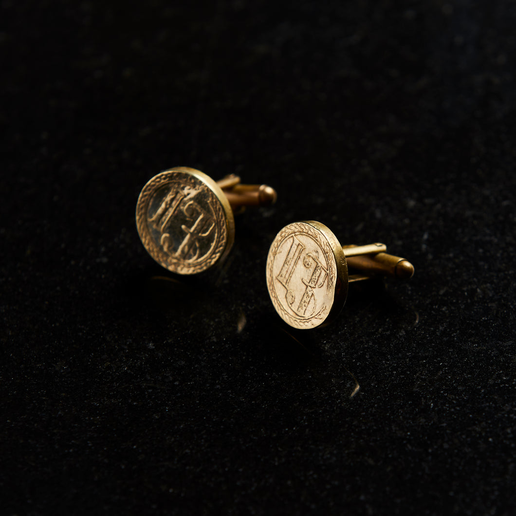 Luxury hand forged cuff links etched in shiny golden brass handmade in collingwood victoria australia by 13K 13 Knives