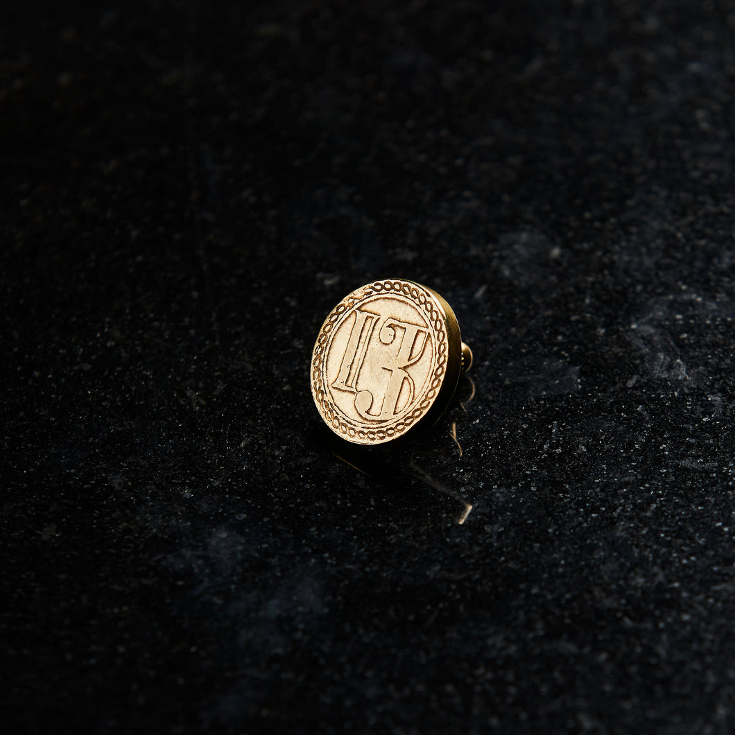 hand forged luxury lapel pin made of solid golden brass hand made in collingwood melbourne australia by 13k 13 knives
