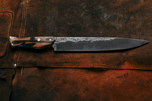 Hand forged high carbon carving knife made from high carbon steel great for BBQ Christamas or any holiday kitchen party hand made by 13 knives in collingwood melbourne australia