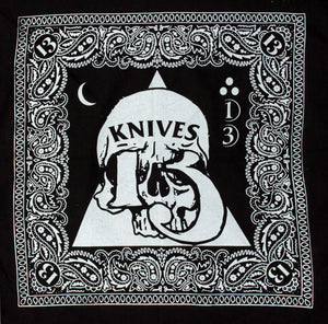 100% cotton bandana doorag screen printed for tuff guys biker 13 knives merch collingwood melbourne australia 13 knives knifemaking thirteen knives bladesmith