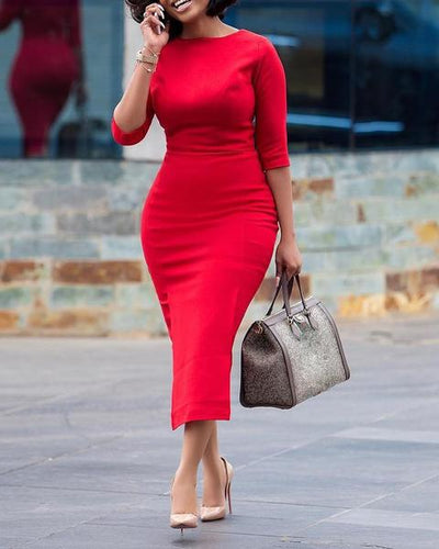 SOLID HALF SLEEVE MIDI DRESS