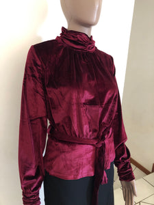 Long Sleeve Velvet Blouse