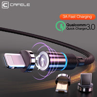 LED QC3.0 Magnetic USB Braided Fast Charge cord for Apple/Samsung