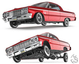 SixtyFour - Fully Functional 1:10 Scale Rc Hopping Lowrider Red Classic Edition