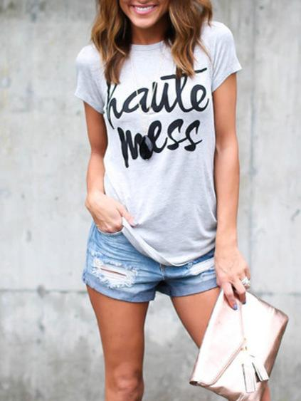 Light Grey Casual T-Shirt