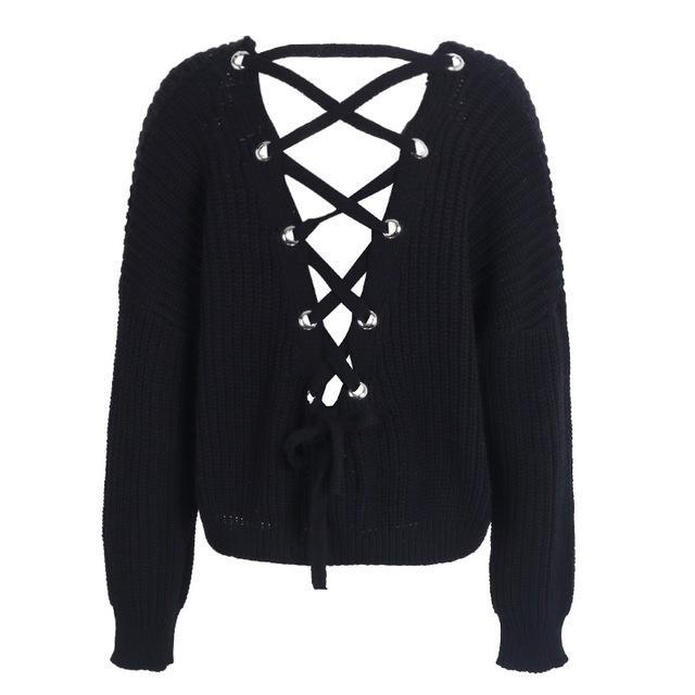 Lace Up Back Sweater - Clairs Closet