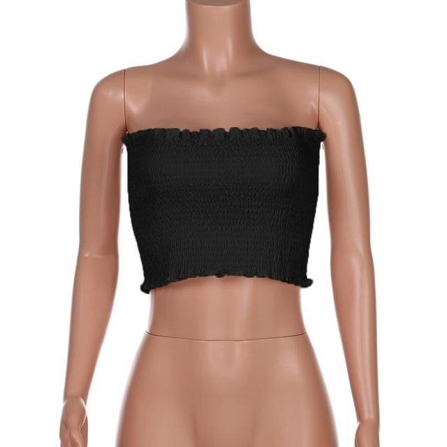 Ruched Bandeau Crop Top - Clairs Closet