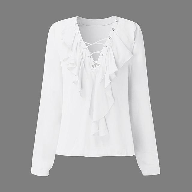 Lace Up V Neck Ruffle Blouse - Clairs Closet