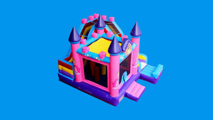 Princess Combo Jumping Castle With Slide - Top View
