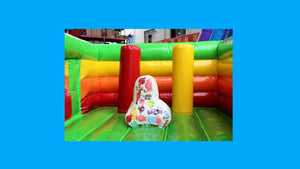 Rainbow Unicorn Theme Jumping Castle With Slide - Internal View