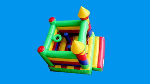 Rainbow Theme Jumping Castle - Top View