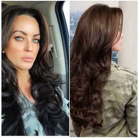 "Custom Hair Extensions - This Custom order was made with 22"" of SalonLabs 100% Virgin Remy Pure Natural Wavy Extensions - HAND tied weft - #2 Darkest Brown. Place your CUSTOM order today for Natural RAW Indian Extensions"