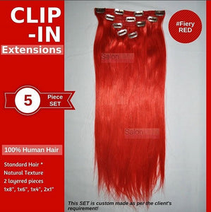 Custom made clip-in set. Made with 100% human hair so this can be curled, straightened, washed, styled anyway you like. We are a manufacturer with factory direct store in Ypsilanti, Michigan