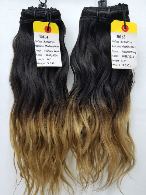 "12""+14"" RAW Indian Hair OMBRE color #1B/#14"