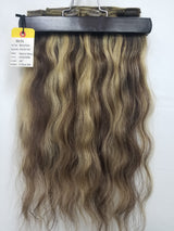 "20"" Remy Pure Natural Wavy #18/#4 Blonde/Brown Streak type blend color - 4 Piece CLIP-IN Set #30154"
