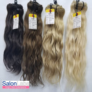 Remy Pure Natural Wavy #613 Platinum Blonde - 4 Piece CLIP-IN Set
