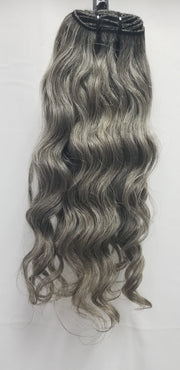 100% Natural Grey Hair - Machine Weft