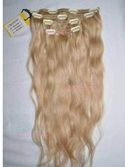 4 Piece CLIP-IN Set - Remy Pure Natural Wavy 20 Golden Blonde #18