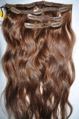 "18"" Remy Pure Natural Wavy - 4 Piece CLIP-IN Set - Light Brown #6"