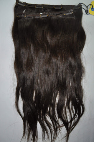 "2 Piece Clip-in SET - Remy Pure Natural Wavy 18"" Darkest Brown #2"