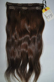 "2 Piece Clip-in SET - Remy Pure Natural Wavy 20"" Darkest Brown #2"