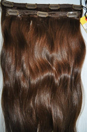 "2 Piece Clip-in SET - Remy Pure Natural Wavy 18"" Dark Brown #4"