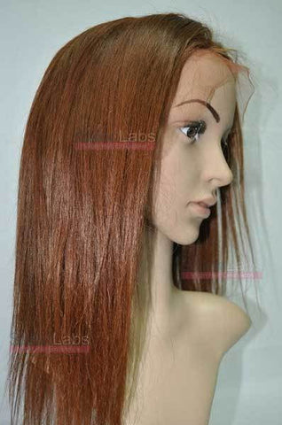 Full Lace Wig - Remy Pure Natural Wavy 14 Dark Auburn #33