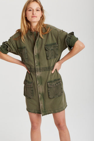 Dale Dress in Washed Forest Green