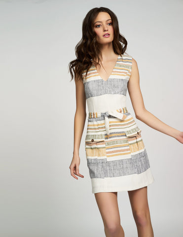 Alannah Dress in Ivory/Olive Stripe