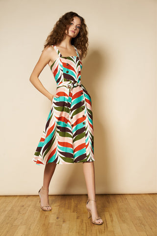 Kyla Dress in Retro Plumage Waves