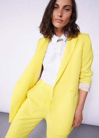 Empower Crepe Double Breasted Blazer in Lemon