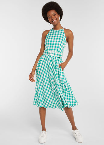 Green Gingham Belted Dress