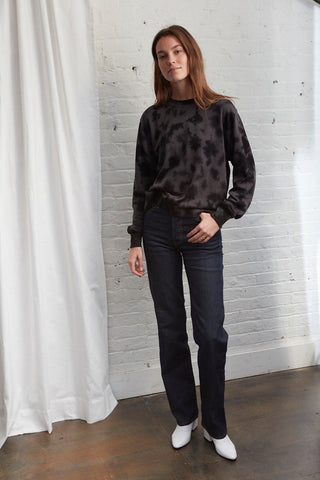 Jayme Sweatshirt in Deep Black Tie-Dye