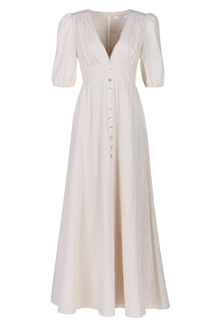 Bianca Button Front Maxi Dress in Cream