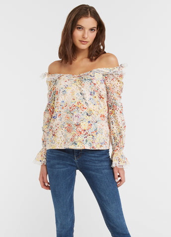 Ruffled Sleeve Eyelet Floral Blouse