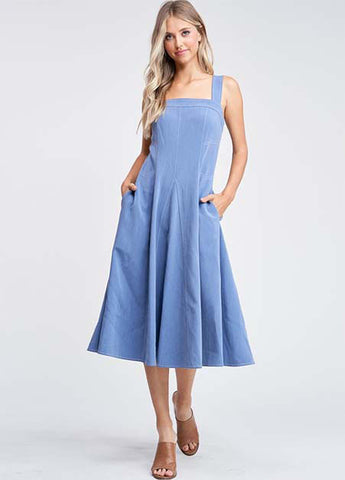 Contrast Stitch Midi Dress